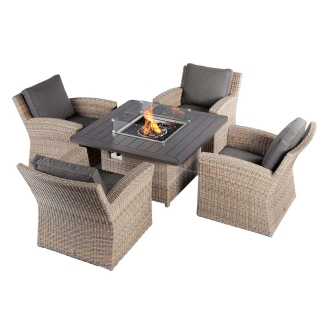 Calvia 4 Seat Square Garden Set in Driftwood Weave with Espresso Fabric