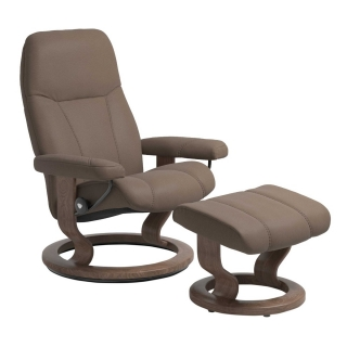 Stressless Consul Large Classic Chair and Stool, Batick Mole & Walnut