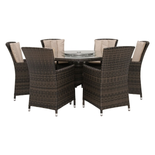 Canoga Park 6 Seat Round Garden Dining Set in Brown Weave and Beige Fabric