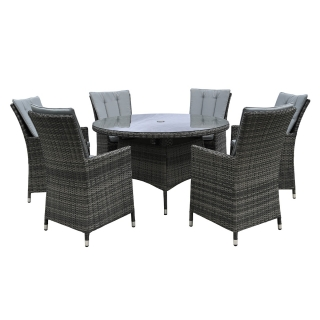 Cromer 6 Seat Round Garden Dining Set, Grey Weave and Grey Fabric