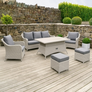 Corsica Garden Sofa Set With Rising Table in Stone Grey Weave and Grey Fabric