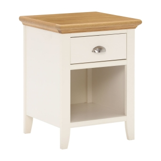 Carrington 1 Drawer Nightstand, Ivory and Oak