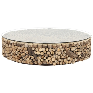 Caspian Solace 120cm Driftwood and Glass Coffee Table