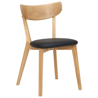 Lund Solid Oak Dining Chair, Black and Oak