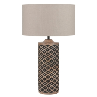 Tall Wooden Diamond Table Lamp, Natural Black and Taupe
