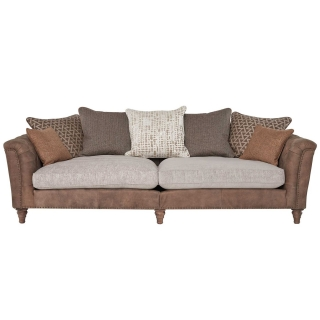 Darwin Grand Split Frame Pillow Back Sofa, Leather and Fabric Mix