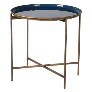 Enameled Metal Tray Table, Blue and Gold