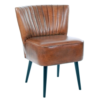 Etta Low Back Vintage Leather Dining Chair, Brown