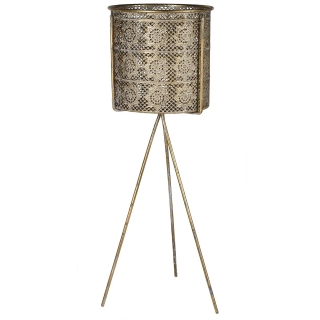 Filigree Metal Plant Pot and Stand