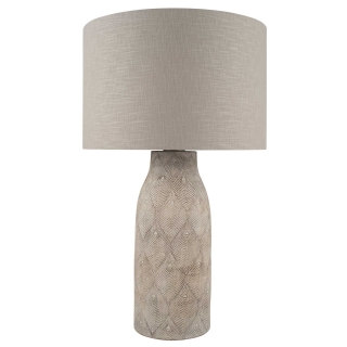 Etched Feather Stoneware Table Lamp