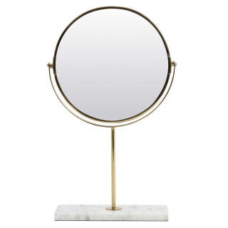 Gold Mirror on Marble Stand