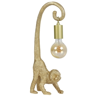 Monkey Table Lamp with Hanging Bulb, Gold