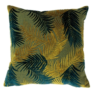 Palm Gold and Teal Cushion