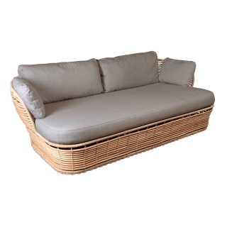 Cane-Line Basket Garden Sofa in Natural with Taupe Fabric