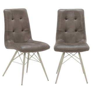 Pair of Hix Upholstered Dining Chairs, Grey
