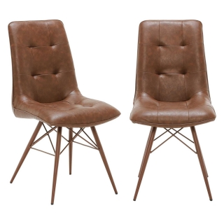Pair of Hix Upholstered Dining Chairs, Vintage Brown