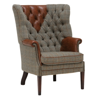 Harris Tweed Mackenzie chair, Leather Arms and Headrest