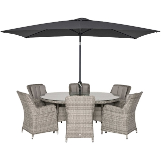 Hathaway 6 Seat Oval Garden Dining Set in Light Grey Weave and Grey Fabric