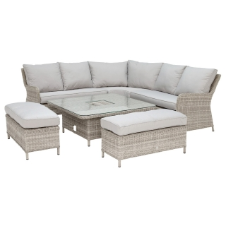 Hathaway Corner Garden Dining Set with Ice Bucket in Light Grey Weave and Grey Fabric