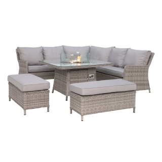 Hathaway Royal Garden Corner Dining Set With Fire Pit in Light Grey Weave and Grey Fabric