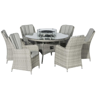 Hathaway 6 Seat Round Garden Dining Set in Light Grey Weave and Grey Fabric