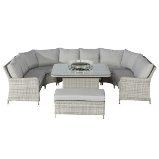 Hathaway Royal U-Shaped Garden Sofa Set with Fire Pit in Light Grey Weave and Grey Fabric