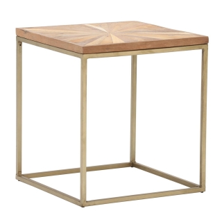 Jupiter Side Table, Wood Top With Antique Brass Leg