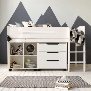 Kenzie Childrens Midsleeper with Chest Of Drawers And Storage Bookcase
