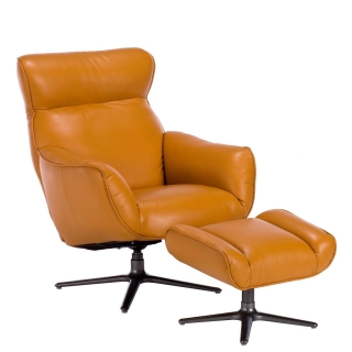 Lecco Leather Recliner Swivel Chair and Footstool