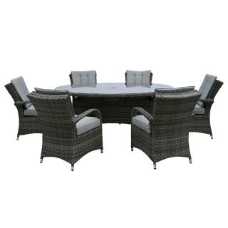 Langdale 6 Seat Oval Garden Dining Set in Grey Weave and Grey Fabric