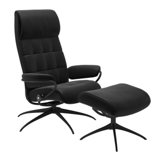 Stressless London High Back Chair and Stool, Paloma Black