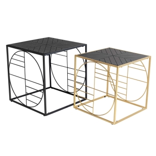 Set of 2 Linton Side Tables, Black and Gold