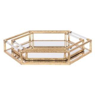 Set Of 2 Trays, Gold Metal And Mirror