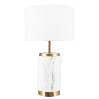 Marble Effect Ceramic Table Lamp, White and Gold