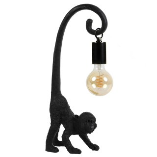 Monkey Table Lamp with Hanging Bulb, Black