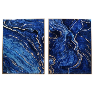 Set of 2 Marble Effect Panels, Blue and Gold