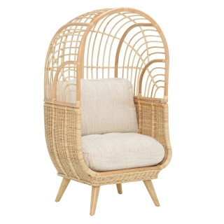 Muna Chair and Cushion with Natural Rattan and Jasper Fabric