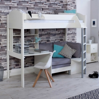 Nova C Childrens Highsleeper Bed with Desk, Bookcase and Futon