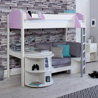 Nova D Childrens Highsleeper Bed with pull out Desk and Futon