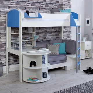 Nova E Childrens Highsleeper Bed with pull out Desk, Bookcase and Futon