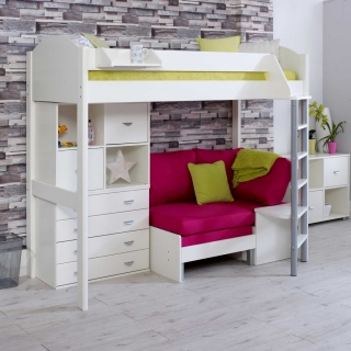 Nova F Childrens Highsleeper Bed with Chest, Bookcase and Futon