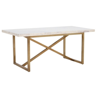 Nola Large Dining Table, White Marble