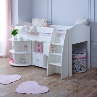 Eli C Childrens Midsleeper Bed with pull out Desk and Storage