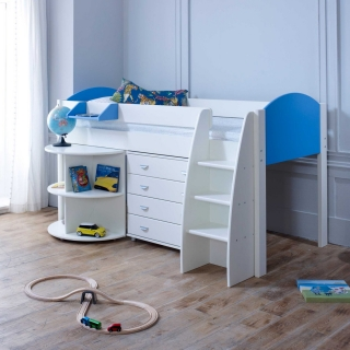 Eli D Childrens Midsleeper Bed with pull out Desk and Chest