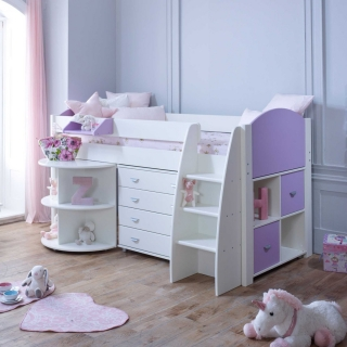 Eli E Childrens Midsleeper Bed with pull out Desk, Storage and Chest