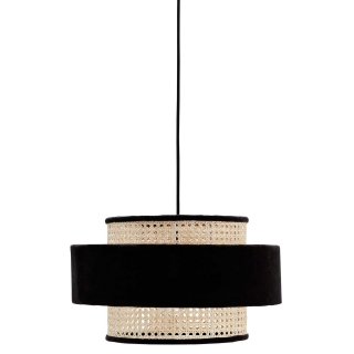 Woven and Velvet Pendant, Natural and Black