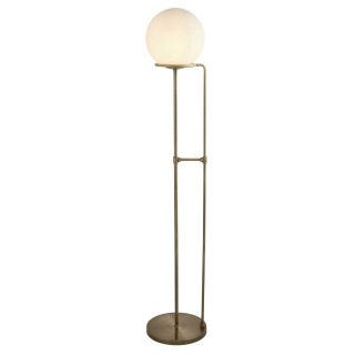 Opal Ball Floor Lamp, Antique Brass and White