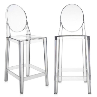 Pair of Kartell One More Counter Stools, Crystal