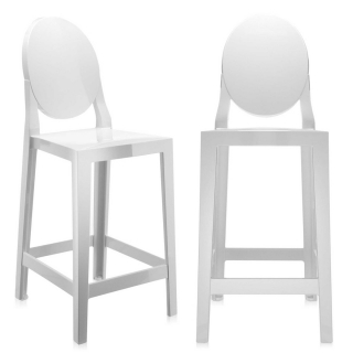 Pair of Kartell One More Counter Stools, White