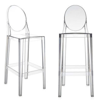Pair of Kartell One More Bar Stools, Crystal